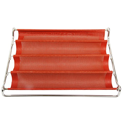 Yilove Perforated Baguette Pan French Bread Baking Mold, 14.2'' x 2.5'' (LW) Cavities (Red) by Yilove