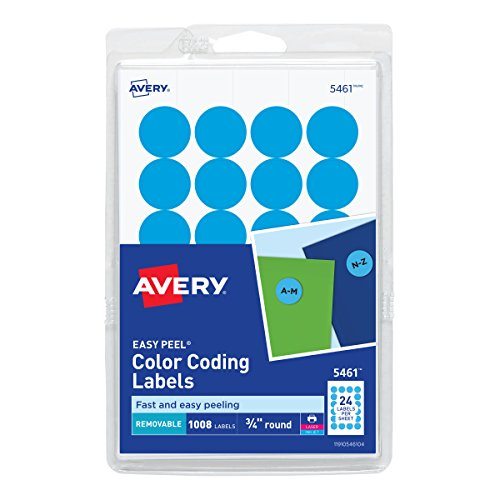 (Avery Print/Write Self-Adhesive Removable Labels, 0.75 Inch Diameter, Light Blue, 1,008 per Pack (5461))