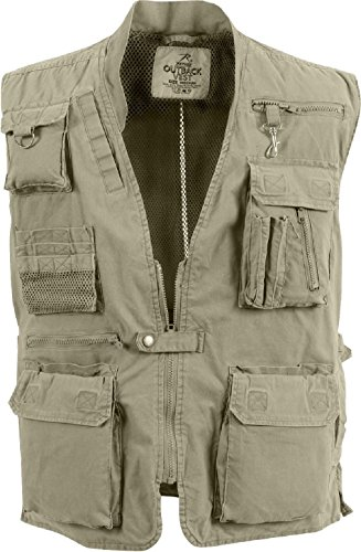 Khaki Deluxe Outdoors 18 Pocket Hunting Travel Outback Vest ()