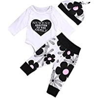 MA&BABY Newborn Kids Baby Boy Girl Cotton Tops Romper Pants Hat 3Pcs Outfits Set Clothes