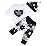 Ma&Baby Newborn Kids Baby Boy Girl Cotton Tops Romper Pants Hat 3Pcs Outfits Set Clothes, White (3-6 Months)