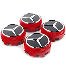 BPS Performance New Set of 4 Raised Center Wheel Caps For Mercedes Benz AMG Wheels 75mm Red/Black 4pcs