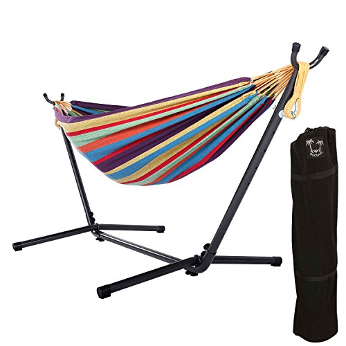OnCloud Double Hammock with 9 FT Stand Space Saving Carrying Case (Rainbow)
