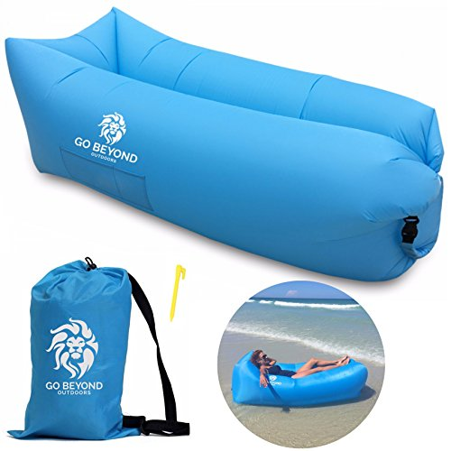 Go Beyond Outdoors Inflatable Lounger - Hangout Sofa With Carry Bag - Easy To Inflate with Wind - Use as Portable Air Hammock, Lazy Lounge Chair, or Blow Up Couch for Camping, Travel, Beach and Pool (Banana Lounge Chair)