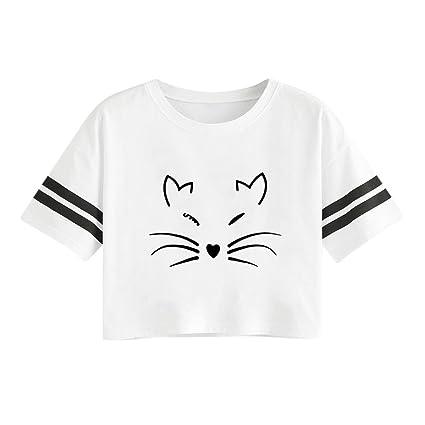 98288c9b7e0 Amazon.com  Snowfoller Women Cute Cat Printed Tee Summer Casual ...