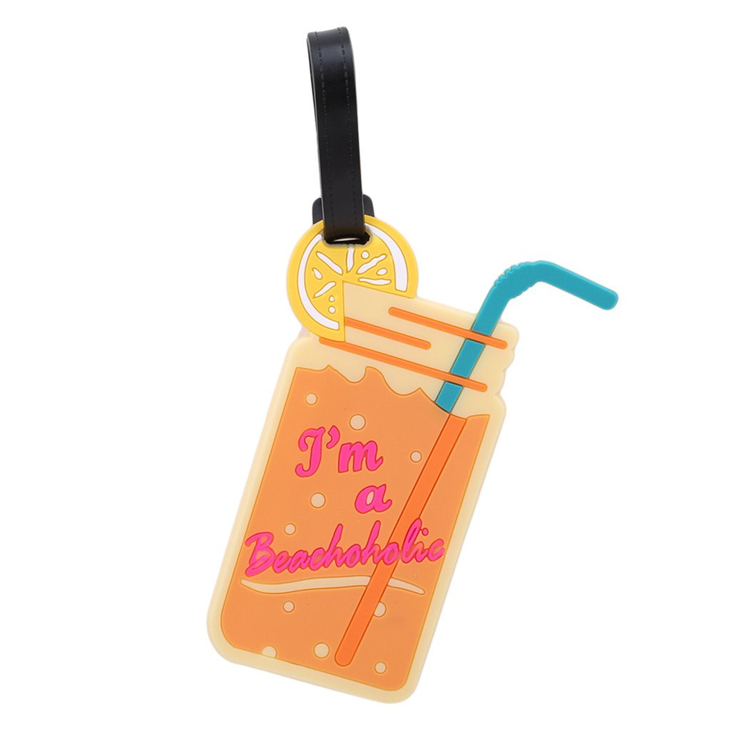 Myhouse Travel Luggage Tags Address Name Card Food Style Silicone Suitcase Label Tag (Orange drink)