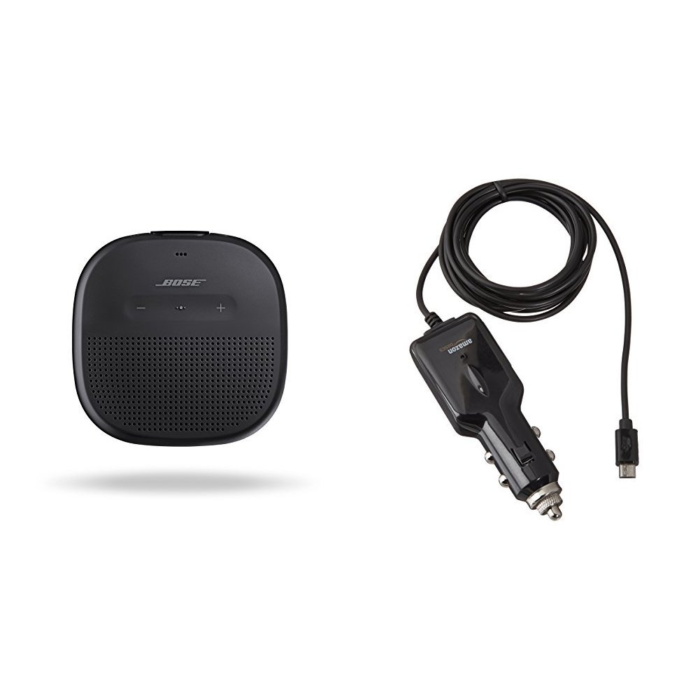 Bose SoundLink Micro Bluetooth speaker - Black with AmazonBasics Micro USB Car Charger