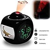Projection Alarm Clock Wake Up Bedroom with Data and Temperature Display Talking Function, LED Wall / Ceiling Projection, Dinosaur-408.50_Saltasaurus dinosaur