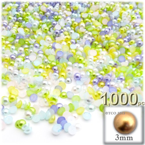 the-crafts-outlet-1000-piece-pearl-finish-half-dome-round-beads-3mm-pastel-mix