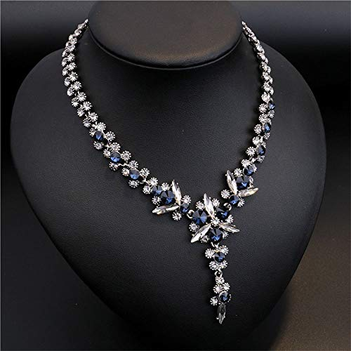 Navy Blue White Crystal Flowers Shiny Jewelry Statement Maxi Pendant Necklace