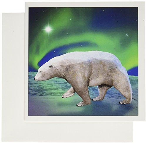 Polar Bear Invitations (3dRose Polar Bear Aurora - Greeting Cards, 6 x 6 inches, set of 6)