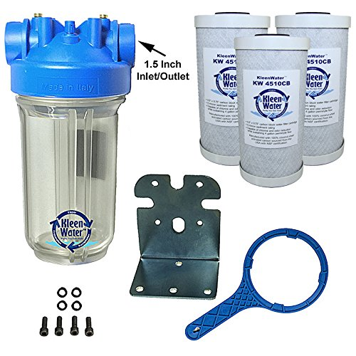 KleenWater Premier Chlorine Whole House Water Filter System, Carbon Bar Filters Set of 3, Transparent Housing, 1.5 Inch Inlet/Outlet, Wrench, Mounting Bracket and Hardware