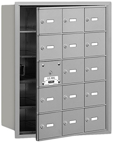 Salsbury Industries 3615AFU 4B Plus Horizontal Mailbox, 15 A Doors 14 Usable, Front Loading, USPS Access, Aluminum