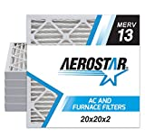 Aerostar 20x20x2 MERV 13 Pleated Air Filter, Made in the USA, 6-Pack