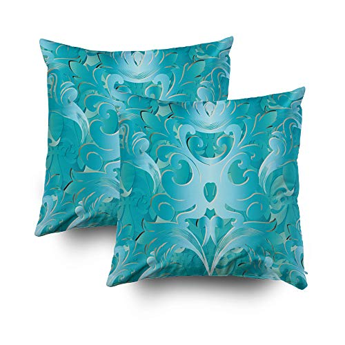 Ivory Leaf Scroll Wallpaper - GROOTEY Large Pillow Cases, Square Pillow Covers with Zip Couch Sofa Décor Damask Pattern Floral Turquoise Background Wallpaper Vintage Flowers Scroll Leaves Abstract Mo 18X18 Set of 2 Throw Cushion