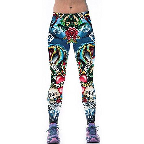 Womens Ultra Soft Fitness Yoga Sport Leggings Digital Printed Stretch Point Capris (Large, Sugar Skull)