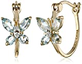 18k Gold-Plated Sterling Silver Blue Topaz Butterfly Hoop Earrings