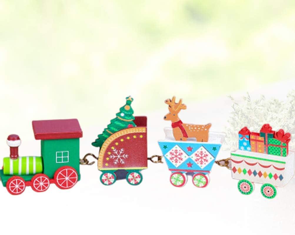 GARNECK Christmas Train Set Toy Kids Toy Santa Train Wooden Reindeer Snowman Christmas Ornament Decoration Desktop Decoration Colorful 1