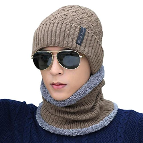 Novawo Winter Fluff Lined Beanie Hat Knit Skull Cap with Neck Warmer for Men Women