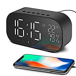 Aidina Alarm Clock Radio with Bluetooth Speaker, Digital Alarm Clock for Bedroom with Thermometer, Dimmable LED Display, Dual Alarm with Snooze, TF Card Slot, USB Charging Port, FM Radio/ AUX-IN