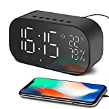 radio with temperature display - Aidina Alarm Clock Radio with Bluetooth Speaker, Digital Alarm Clock for Bedroom with Thermometer, Dimmable LED Display, Dual Alarm with Snooze, TF Card Slot, USB Charging Port, FM Radio/ AUX-IN