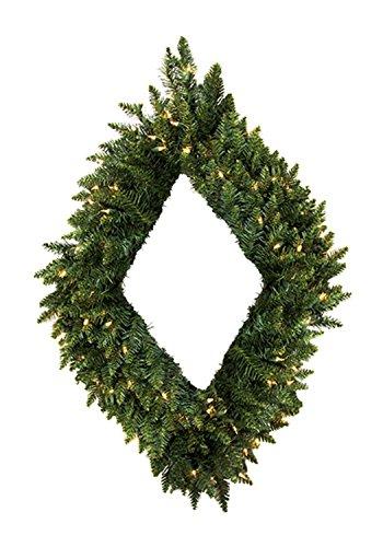 Vickerman Pre-Lit Camdon Fir Diamond Shaped Artificial Christmas Wreath with Clear Lights, 48