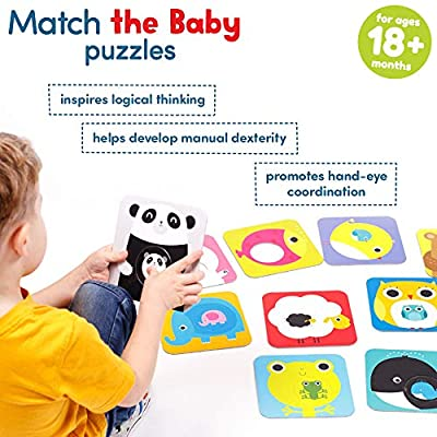 Banana Panda Match The Baby Puzzle Set, Beginner Puzzles & Matching Activity For Kids Ages 18 Months & Up, Multicolor, (Model: 33683): Toys & Games