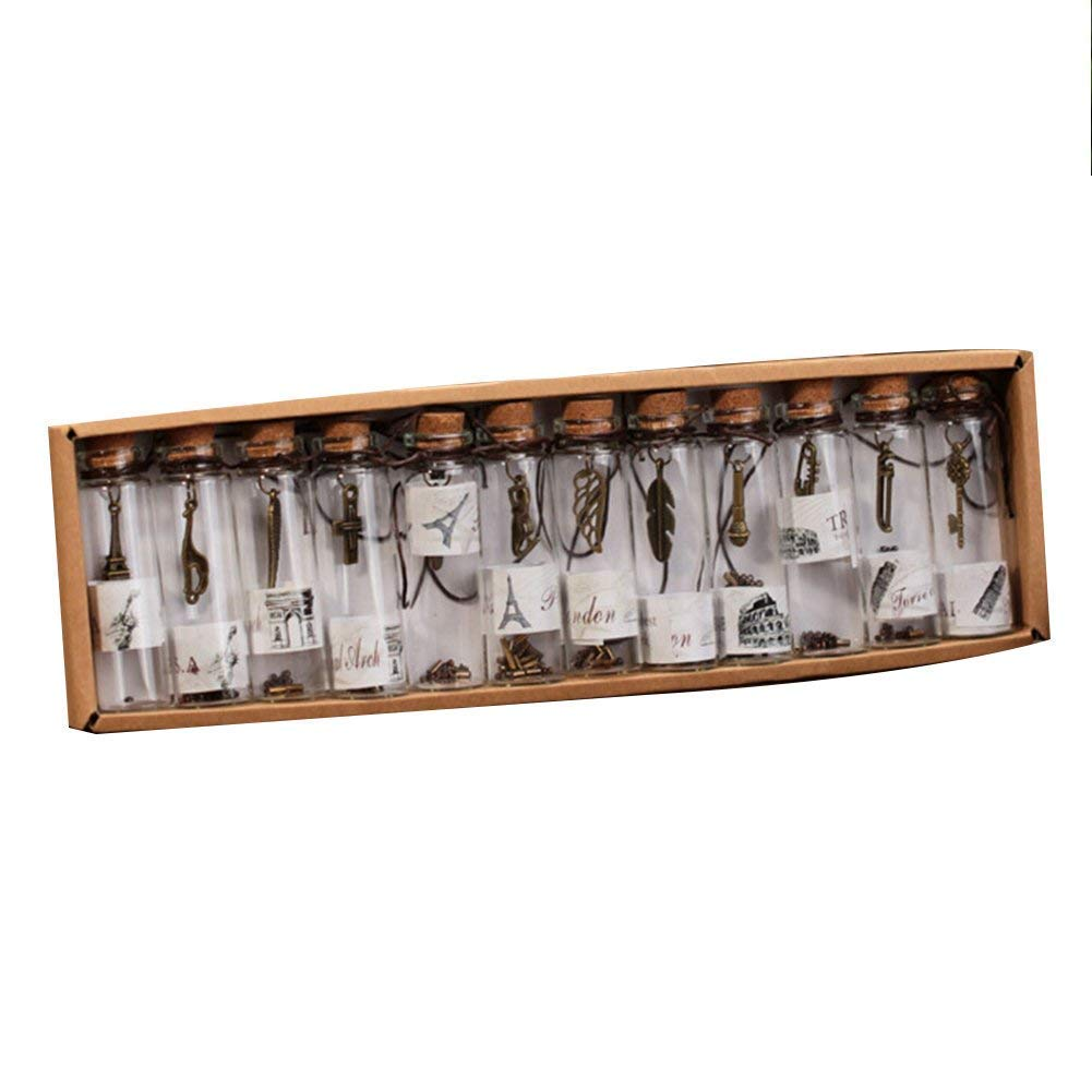 Rocita Mini Botella de Vidrio decoración del hogar Estilo Torre Colgante de Metal de Moda Que Deseen Botella 1 Pieza Set 12 pcs: Amazon.es: Hogar