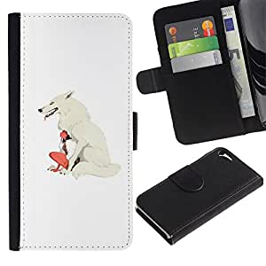 Stuss Case / Funda Carcasa PU de Cuero - Mujer del lobo blanco Chica nativa india - Apple Iphone 5 / 5S