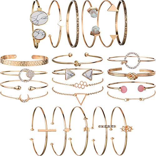 yunanwa 5 Pack (23pcs) Multiple Layered Stackable Open Cuff Wrap Bangle Bracelet Jewelry Adjustable for Women Girls Wholesales Set Assorted