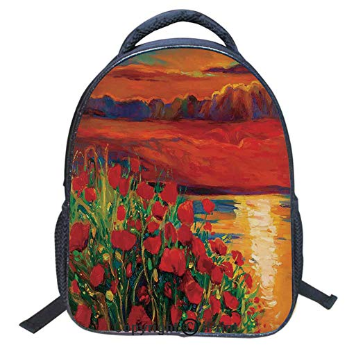 3D Print Backpack,Suitable for Kids,School Backpack,Book Bags,Travel Hiking Bag Backpack Collection Bags for Teen Girls Kids,16 inch,Oil Painting View Stone Stairs in The Greek Garden Greenery Forest