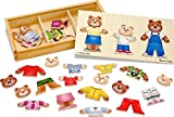 Melissa-and-Doug-Wooden-Bear-Family-Dress-Up-Puzzle-New
