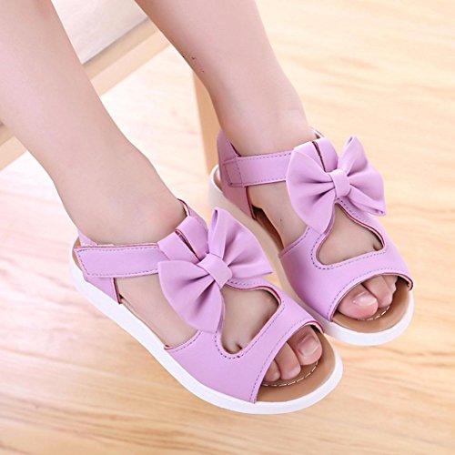 Hunpta Sommer Kinder Kind Sandalen Mode Bowknot Mädchen flache Prinzessin Schuhe Lila