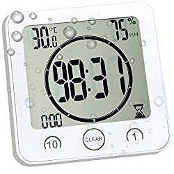 Digital Shower Clock with Timer Temperature Humidity Monitor Function, Waterproof Bathroom Clock for Water Spray, Special Mirror Suction Clock [Touch Screen] [Table Desk Stand or Wall Hanging] (White)