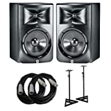 JBL LSR308 Studio Monitors with Cables and Stands Bundle