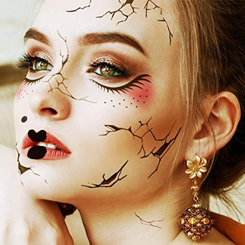 Halloween Realistic Temporary Costume Make Up Face Tattoo Kit Men or Women Adult - (Cracked Doll) -