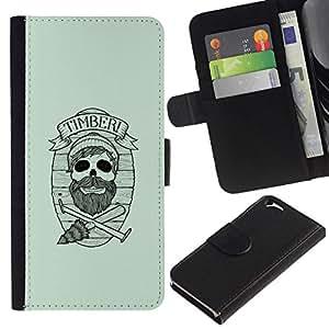 All Phone Most Case / Oferta Especial Cáscara Funda de cuero Monedero Cubierta de proteccion Caso / Wallet Case for Apple Iphone 6 // Timber Hipster Skull