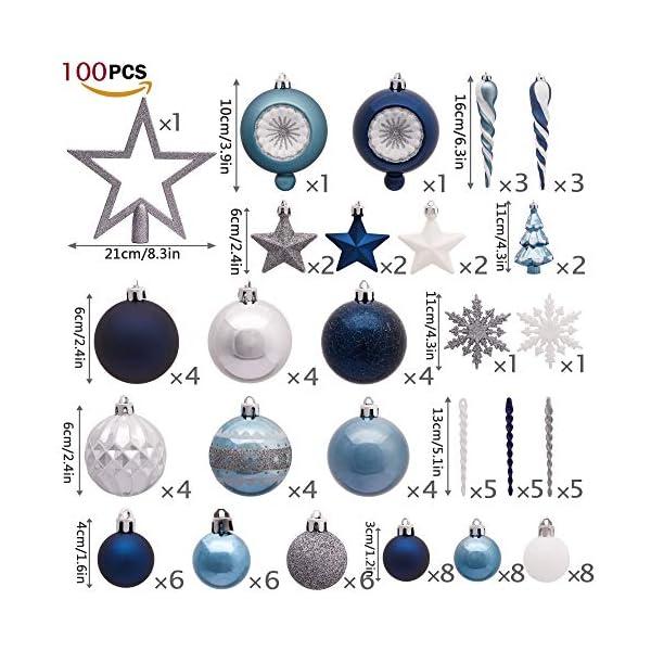 Valery Madelyn Palle di Natale 100 Pezzi di Palline di Natale, 3-5 cm Auguri Invernali Argento e Blu Infrangibili Ornamenti di Palle di Natale per Decorazioni per Alberi di Natale 2 spesavip