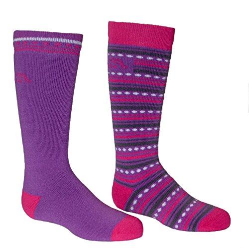 Bridgedale Merino Ski Socks (2-Pack), Medium, Purple/Fuchsia ()