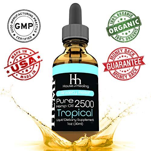 Hemp Oil for Pain & Anxiety Relief - 2500mg - Organic Hemp Drops - Natural Hemp Oils for Better Sleep, Mood & Stress - Pure Hemp Extract - Tropical Flavor