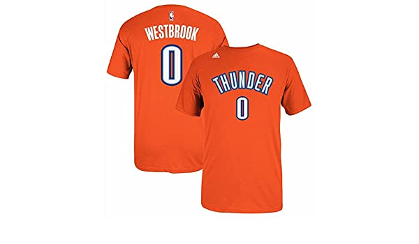 Adidas Russell Westbrook Oklahoma City Thunder NBA Naranja Nombre y número Jugador Equipo de Jersey Color Camiseta de Manga Corta para Hombre, XL, ...