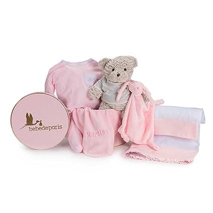Canastilla regalo bebé Mi Sueño Bordado- BebeDeParis- Rosa- Cesta ...