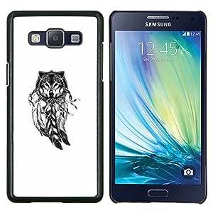 LECELL--Funda protectora / Cubierta / Piel For Samsung Galaxy A5 A5000 -- Lobo Indian Dream Catcher nativa blanca --
