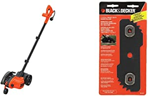 BLACK+DECKER 12 Amp 2-in-1 Landscape Edger and Trencher with Edge Hog Heavy-Duty Edger Replacement Blade (LE760FF & EB-007)
