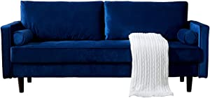 Peciafy Mid-Century Modern Loveseat/Sofa/Couch, with Upholstered Fabric in Brown for Living Room, Bedroom, Office, Apartment - Blue