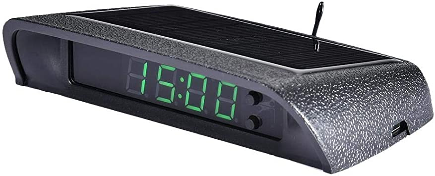 Thorityau Solarenergie Auto Elektrische Uhr Auto Uhr Digital Leuchtend Klein Auto Uhr Stick On Digitaluhr Solarbetrieben 24 Stunden Auto Uhr Mit Eingebauter Batterie Auto