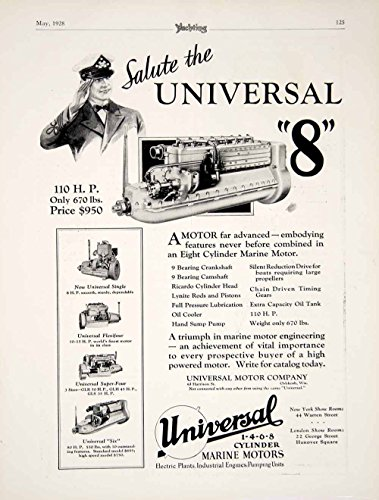 1928 Ad Universal Marine Motor 8-Cylinder Engine Boat Yacht Sailor Nautical YYM2 - Original Print (Comp Cylinder)