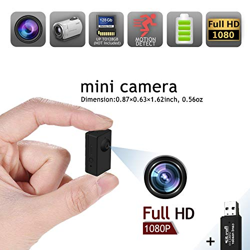- Mini Hidden Spy Camera, Tiny Wearable Nanny Cam Wireless Video Recorder,1080P Small HD Portable Body Worn Surveillance Cameras with Motion Detection, Recording Function Support 128GB SD Card