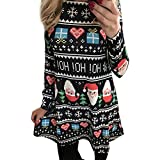 MIRRAY Womens Ladies Dresses Winter Autumn Colourful Xmas Christmas Pattern Printed Swing Dress Girls Long Sleeve Flared Party Fashion Slim Clothes Mini