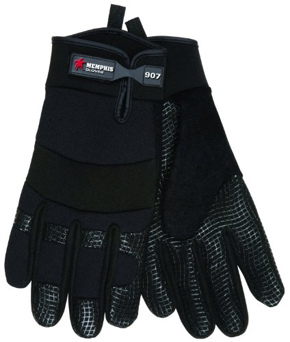 MCR Safety 907L Memphis Synthetic Palm Multi-Task Gloves with Adjustable Wrist Closure, Black, Large, 1-Pair by MCR Safety